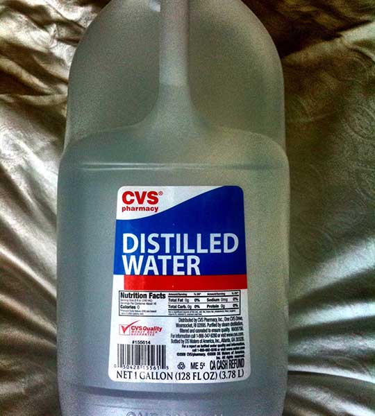 distiled water